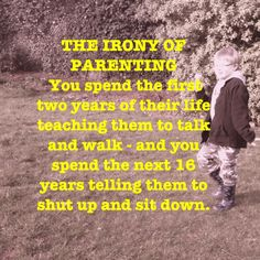 The irony of parenting - so true!!