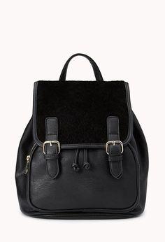 Favorite Faux Fur Backpack   FOREVER21