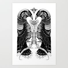 bird v bird Art Print by Iain Macarthur - $13.00