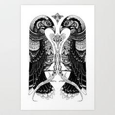 bird v bird Art Print by Iain Macarthur - $13.00