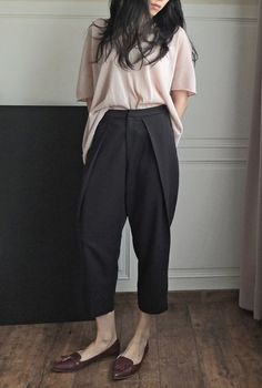 Garconne tomboy style low-crotch oversize culotte sarouel trousers (Please convo…