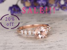 gemstone and diamond engagement ring in solid gold 14/18k white/yellow/rose gold available. Diamonds can be upgraded. Ring setting can be made. Ring can be resized. 30-Day Money Back guarantee.Customer Office in USA. Free Shipping to US. Jewelry Details: 6.5mm Round cut VS natural pink morganite 0.45ct natural SI-H diamonds this is a special,only size 6.5-7 we can ship it in a week   Normally the ring needs 2-3 weeks to finish as it is handmade.Rush order available,you can ask ...