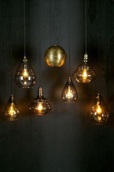 Smoke grey glass pendant light with brass fittings and ceiling rose. Glass Pendant Light, Glass Pendants, Pendant Lamp, Pendant Lighting, Deco Luminaire, Modern Lighting Design, Rustic Lamps, Grey Glass, Lamp Design