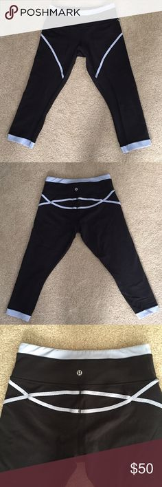Lululemon vintage run pace crop style pants size 8 Black with light blue detail crop run pace tights size 8, in excellent used condition with light wash wear. lululemon athletica Pants Leggings
