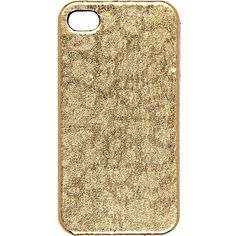 gold snake skin print iphone 4 case from River Island