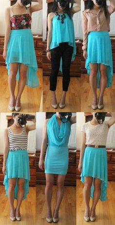 Different ways to wear a high low skirt ~Pretty interesting, now to get one and try these out!