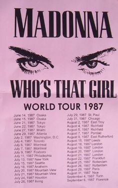 Limited Madonna World Tour 1987 Concert Poster Print VERY LIMITED RARE