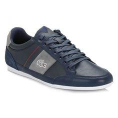 Lacoste Mens Navy/Light Grey Chaymon 216 Leather Trainers