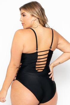 Plus Size Ladder Caged Swimsuit - Black– Curvy Sense Trendy Plus Size Clothing, Plus Size Dresses, Plus Size Outfits, Black Swimsuit, One Piece Swimsuit, Plus Size Model, Plus Size Swimwear, Affordable Fashion, Curvy