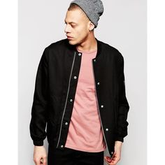ASOS Slim Smart Bomber in Black Tencel Fabric ($70) ❤ liked on Polyvore featuring men's fashion, men's clothing, men's outerwear, men's jackets, black, mens bomber jacket, mens slim fit jacket, mens zip up jacket, asos mens jackets and mens slim jacket
