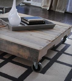 Reclaimed Wood Coffee Table with Casters by Raka Mod on Scoutmob Shoppe...and again...YES