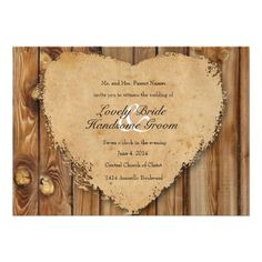 Rustic Tattered Heart Wood Look Country Wedding Custom Announcement