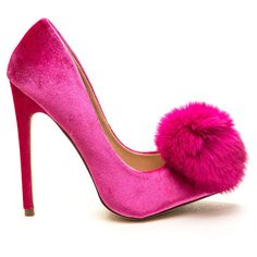 You're Da Pom-Pom Pointy Velvet Pumps ($41) ❤ liked on Polyvore featuring shoes, pumps, heels, pink, stiletto pumps, high heel stilettos, pointy-toe pumps, high heel shoes and stilettos shoes