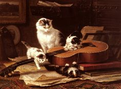 Henriëtte Ronner-Knip (Holanda/Alemania, 1821-1909). Playing with the Guitar