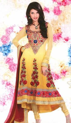 Yellow Faux Georgette Embroidery with Sequins Work Anarkali Suit 26002