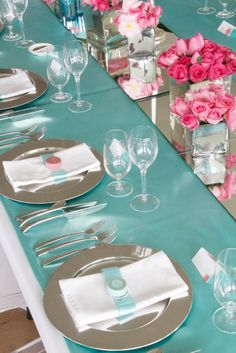 Tablescape in tiffany blue and raspberry pink at a Delamore Lodge wedding, New Zealand. Tiffany + Min - Styling, Florals, Candy & Stationery by Red Creative www.recreative.co.nz