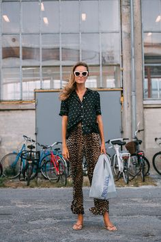 *polka dot blouse, leopard trousers, v pajama v relaxed cool but quirky, w sandals, maryjanes espadrilles etc*