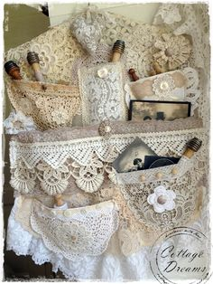 """Beautiful shabby lace hanger - Sew pockets onto """"slip"""" for cash/ license, lipstick! Shabby Chic Crafts, Vintage Crafts, Vintage Shabby Chic, Shabby Chic Homes, Shabby Chic Decor, Fabric Art, Fabric Crafts, Sewing Crafts, Sewing Projects"""