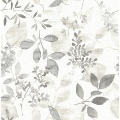 A botanical wallpaper for modern times. This watercolor design has an ink effect with bold shapes and subtle shifts in tone. This neutral design is perfect redecorating. A linen print background adds greater dimension.