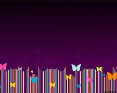 Esta Plantillad de PPT tiene un background color violeta y en la parte inferior tiene la imagen de varias mariposas de colores volando, también se puede observar varias líneas verticales en tonos de colores cyan, amarillo, azul, magenta y naranja