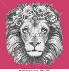 Image result for lion flower crown tattoo