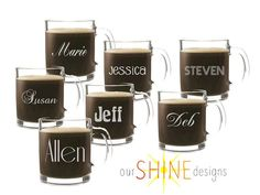 Personalized Etched Coffee Cup - Personalized Gift - Monogrammed gift - Engraved Glass Mug