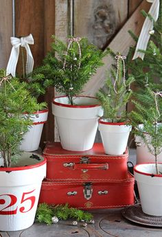Enamel look flower pots! Cute and looks easy
