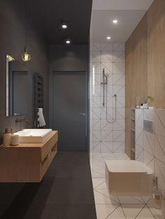 Piccolo bagno originale in bianco e nero con dettagli in legno - design bagni moderni
