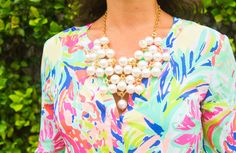 Lilly Pulitzer Catch Me Pearl Statement Necklace.