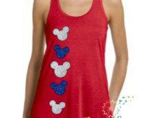 Disney Princess 4th of July Shirt I Glitter Minnie Mouse Tank Top I Disney…