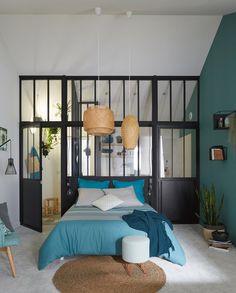 Chambre Adulte Salle de bains Bleu Noir et blanc ARTENS Industriel / Loft