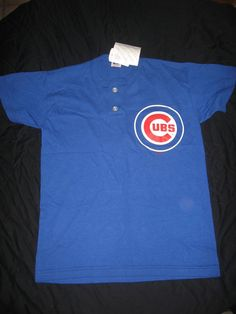 Chicago Cubs #8 Royal Blue 2-Button T-Shirt Russell Athletic Youth M Medium NWT #RussellAthletic #ChicagoCubs