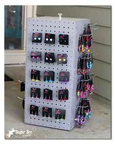 here's how to make your own spinning display pegboard case - so much cheaper than buying one - - Sugar Bee Crafts: Spinning Display Rack! Not my idea! But totally you need to make! Jewelry Rack, Jewellery Storage, Jewelry Organization, Diy Jewelry, Jewelry Holder, Jewelry Box, Necklace Holder, Teen Jewelry, Jewelry Chest