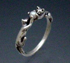 Two Cats Ring with Pearl. $45.00, via Etsy.