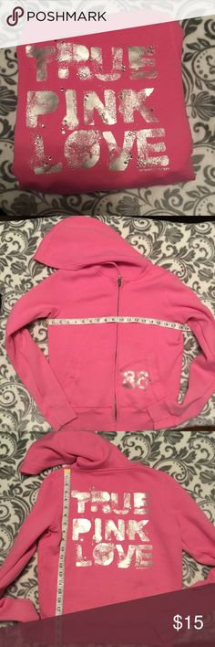 """🌺 JUST IN Victoria's Secret PINK zip up hoodie Pink & silver embellished zip up hoodie by Victoria's Secret PINK  In GUC. Has some piling on the inside and basic signs of wear and one missing gemstone. Still has a ton of love left to give but price reflects condition   """"True pink love""""  Victoria's Secret logo and dog on back  Two front pockets  Firm price unless bundled with other items  I ship same/next day depending on time of purchase.  A lot of my listings sell quick so get them while…"""