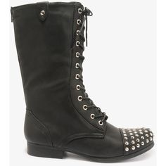 FOREVER 21 Studded Combat Boots ($40) found on Polyvore