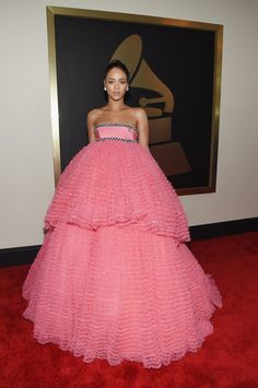 Poor Rihanna. She looks like she got caught in a cotton candy explosion on the way to the ceremony.