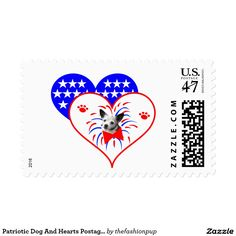 Patriotic Dog And Hearts Postage Stamps