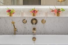 Designed by @barlowandbarlow , this main bathroom features our Bute bath, complemented by Chessleton diverters, an art deco wall spout and a grand hand shower. Perfect functionality for a luxurious soak. Photography @jonathanbondphotography Guest Bathrooms, Small Bathroom, Master Bathroom, Art Deco Bathroom, English Interior, Vanity Basin, Shower Valve, Grand Homes, Interior Design Studio