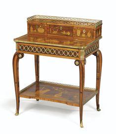 Bonheur-du-jour en marqueterie, placage de bois de rose et d'amarante et monture de bronze doré d'époque Louis XV, vers 1770, estampillé <em>P. PIONIEZ et JME</em> | Lot | Sotheby's