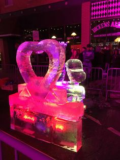 The annual Fire & Ice Festival features lots of Valentine hearts this year. Too warm for details in ice. Fire And Ice Festival, Loveland Colorado, Valentine Hearts, Birthday Candles, Warm, Fun, Hilarious