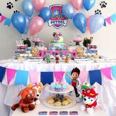 Throw a Paw Patrol Party! Girl Paw Patrol Party, Paw Patrol Birthday Girl, Baby Girl Birthday, Third Birthday, 4th Birthday Parties, Birthday Ideas, Paw Patrol Pinata, Paw Patrol Birthday Decorations, Fete Emma