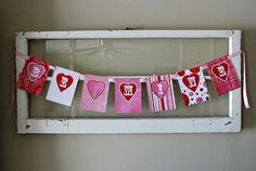Free printable valentine's banner.  **Pin completed**