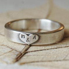 Love - Personalized Sterling Silver Hand Stamped Ring Band  - 5mm - Hand Forged - Custom Size