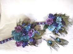 Image result for white gold peacock feather bridal bouquet