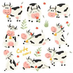 Set of cute Cows character in various positions. Vector illustration for your design Goat Cartoon, Monkey Illustration, Chinese Paper Cutting, Chinese New Year Card, Fluffy Cows, New Year Designs, Cute Cows, Displaying Collections, Animal Drawings