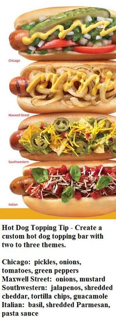 Hot Dog Topping Tip - Create a custom hot dog topping bar with two to three themes.