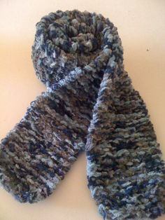 Blue and Grey Chenille Knit Scarf