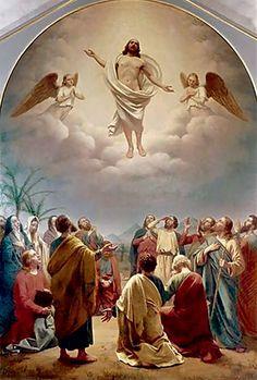 """""""A ascensão"""", de Andreas Herman Hunaeus (1840). Durante a ascensão de Cristo, os apóstolos testemunham o trabalho dos anjos"""