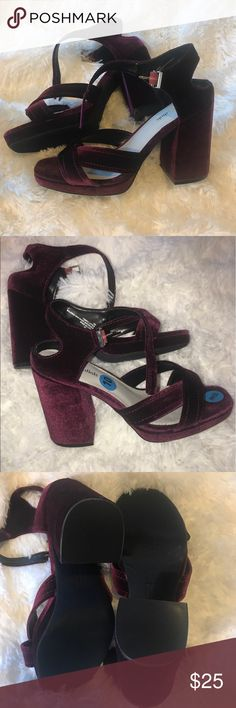 Seven Dials Sz 10 Velvety Burgundy Block Heels S2 Seven Dials Sz 10 Velvety Burgundy Block Heels 1.5 inch platform 4 inch heel. Very deep red velvet. Gorgeous in person.  Ankle strap aprox 12 inches from one end to the other Seven Dials Shoes Heels
